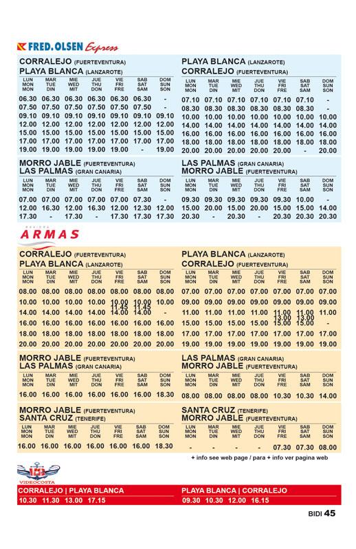 horaires des ferries